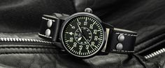 Laco Uhrenmanufaktur Pilot watch with type B dial, automatic Miyota movement, pilot leather strap.