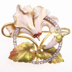 French enamel and diamond flower brooch   1900