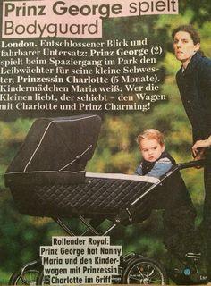 Le prince George protège sa sœur Charlotte, dans sa poussette. Les deux enfants de Kate se promènes avec leur super Nanny espagnole, Maria Teresa, au mois de septembre 2015.