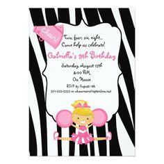 Zebra Striped Pink Cheerleader Birthday Invite