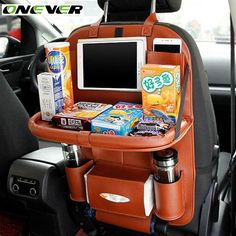 Onever Car Seat Back Hanging Organizer Bag Universal Auto Multi-pocket PU Leather Pad Cups Storage Holder Bag Foldable Shelf Car Seat Organizer, Hanging Organizer, Shelf Organizer, Console Centrale, Design Autos, Leather Car Seats, Girly Car, Car Essentials, Car Accessories For Girls
