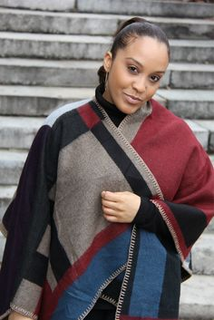#winterstyle color-block reversible cape #womensfashion