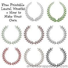Free Printable Laurel Wreaths + How to Make Your Own. Olive Wreaths, design, name cards, custom, free printable laurel wreath (Diy Wreath Fonts)
