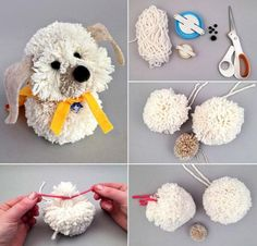 Best 12 diy braid doll pattern tutorial by belinda – SkillOfKing. Sock Crafts, Cute Crafts, Yarn Crafts, Yarn Animals, Pom Pom Animals, Pom Pom Puppies, Easter Crafts, Christmas Crafts, Diy Crafts For Kids