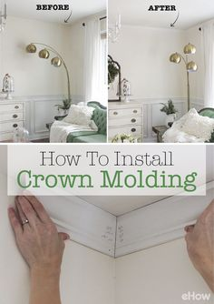Crown molding accentuates ceiling height, creates architectural interest, and adds value to one's home.  http://www.ehow.com/how_15090_install-crown-molding.html?utm_source=pinterest.com&utm_medium=referral&utm_content=freestyle&utm_campaign=fanpage