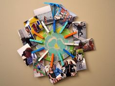 How to Make a Photo Display and Message Board: Hang the sunburst photo display. It's great for a kid's bedroom since the clothespins make it easy for them to change out what they want to display. From DIYnetwork.com