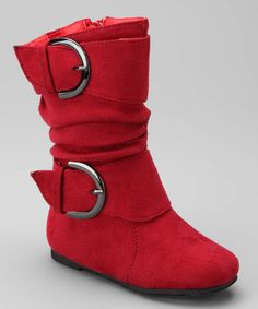 Take a look at this Red Data Buckle Boot by Lucky Top on #zulily today!