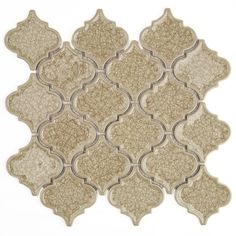 "Roman Collection Hazelnut Cream Arabesque Glass Tile Size: Random Color:Yellowish-Brown Material:Glass Finish:Polished Coverage 0.71 Sq. Ft. Sheet Size:10 1/2"" x 9 3/4"" Please note each lot will vary from the next."