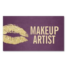 Makeup Artist Modern Gold and Purple Double-Sided Standard Business Cards (Pack Of 100). Make your own business card with this great design. All you need is to add your info to this template. Click the image to try it out!