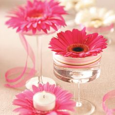 Centro mesa gerbera rosa