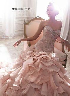 Glamorous Blush Wedding Ideas to Inspire - blush wedding dress; Maggie Sottero 2015