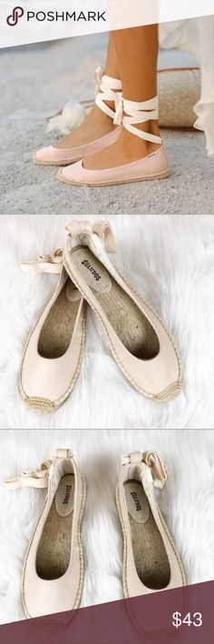 e1b37e2c334c Soludos Leather Ballet Tie Up Espadrilles Flats Brand New Never Worn Nude  Leather Espadrille With Ankle