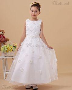 Organza Einfach Prinzessin Anständiges Blumenmädchenkleid Mit Blume - Bild 1