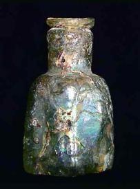 Rare Ancient Iridescent Byzantine Square Glass Bottle 4th Century