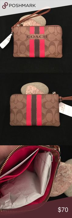 COACH VARSITY WRISTLET NWT/KHAKI PINK RUBY COACH VARSITY WRISTLET NWT/KHAKI PINK RUBY. ✅ALWAYS OPEN TO OFFERS-unless marked firm on price ✅OFFERS SHOULD BE MADE THROUGH POSH OFFER FEATURE ✅PRICES NOT DISCUSSED IN COMMENTS  ✅FEEL FREE TO ASK ANY QUESTIONS  ✅Photos from the Internet could vary slightly from the item that is being shipped  ❎NO TRADES Coach Bags Clutches & Wristlets