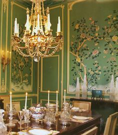 AD - Sept 2000 Handpainted Chinoiserie wallpaper by Gracie, for elegant dining room in Paris Apartment