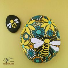 Painted Stones, Mandala Inspired Design, Bee Motif, Rock Art, Natural Home…