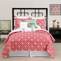 This duvet cover by Trina Turk is a wonderful take on a classic 60's era look. The coral ground is the color of ripe tropical fruit paired together with crisp white on a cotton jacquard.
