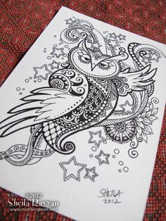 Doodle Owl  original ink drawing by MotherSpoon on Etsy, $65.00