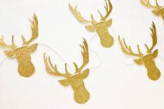 Gold Glitter Deer Garland