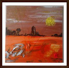 Mixed Media Original  painting  acrylics - Mexican Sunset - Landscape - Etsy. £45.00, via Etsy.