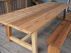 Large Outdoor Dining Table - Cedar...I really like long tables ...