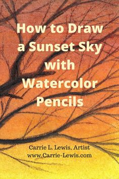 How to draw a sunset sky with watercolor pencils in five easy steps. Paint the sky with washes of color, then use the watercolor pencils dry. Watercolor Pencil Art, Watercolor Sunset, Watercolor Pencils Techniques, Pencil Painting, Watercolour Tutorials, Watercolor Paintings, Easy Watercolor, Watercolours, Painting Tutorials