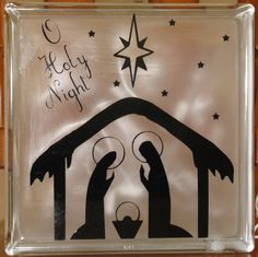 Lighted Christmas Nativity Glass Block.