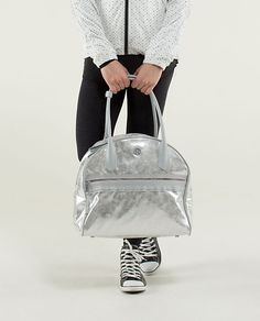 Sweat Once a Day bag.love it in the metallic silver! One of the best gifts I've ever received ! Lululemon Bags, Yoga Bag, Day Bag, Athletic Outfits, Workout Gear, Leather Backpack, Fashion Backpack, Lululemon Athletica, Best Gifts