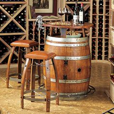 Vintage Oak Wine Barrel Bistro Table & Bar Stools at Wine Enthusiast - $1,395.00
