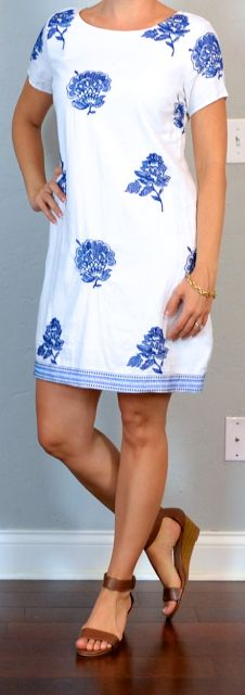 Outfit Posts: outfit post: embroidered shift dress, brown wedge sandal