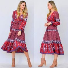 Delilah Midi Dress - Red and White Boho Midi Dress, End Of Winter, Dress Red, Button Up, Bodice, Red And White, Bohemian, Long Sleeve, Floral