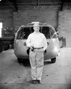 Buckminster Fuller stands before his three-wheeled #Dymaxion car, 1945.
