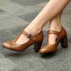 """5 Upcoming Shoes Trends for Women in 2017  - Marilyn Monroe once said, """"Give a girl right shoes and she will conquer the world"""". Undoubtedly, the right choice of shoes gives you fashion butte... -  Black-Brown-British-Style-Work-T-Strap-Women-Genuine-Leather-Vintage-Shoes-Ladies-High-Chunky-Heel ."""