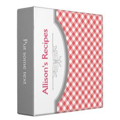 Red, white gingham pattern with frame recipe binder. #gingham, #red, #binder, #recipebinder, #pattern