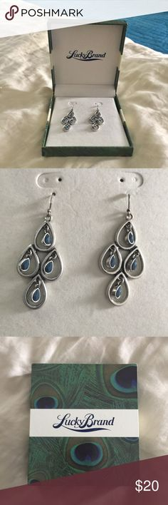 Lucky Brand Earrings NWOT. These are lovely earrings. Silver toned with blue stones. Lucky Brand Jewelry Earrings