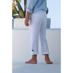 Classic linen pants, straight cut slim fit with button-tab roll-up cuffs. Key features: linen Adjustable waist Decorative back pocket White Trousers, Linen Trousers, Cuffed Pants, Straight Cut, Boy Fashion, Blue Stripes, Capri Pants, Slim, Boys