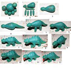 Sculpt with play-doh Dinosaur Cake Toppers, Dino Cake, Dinosaur Birthday Cakes, Fondant Cake Toppers, Fondant Figures, Dinosaur Party, Fondant Cakes, Cupcake Cakes, Dinosaur Dinosaur