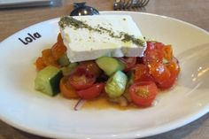Fresh and light - Feta Cheese, Cucumbers, Tomatoes & Red Onion at  Lola's in Seattle. - See more at: http://travelcuriousoften.com/january15-food-quest.php#sthash.mkb1TRwV.dpuf