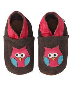 Look at this #zulilyfind! Brown & Pink Owl Leather Booties #zulilyfinds