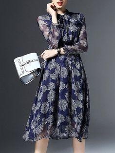 Shop Midi Dresses - Blue Floral-print Frill Sleeve Silk Floral Midi Dress online. Discover unique designers fashion at StyleWe.com.