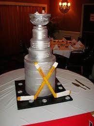 Stanley Cup hockey stick wedding cake - better as a grooms cake. Hockey Birthday, Hockey Party, Birthday Cake, Sports Party, 8th Birthday, Birthday Ideas, Birthday Parties, Themed Wedding Cakes, Wedding Cupcakes