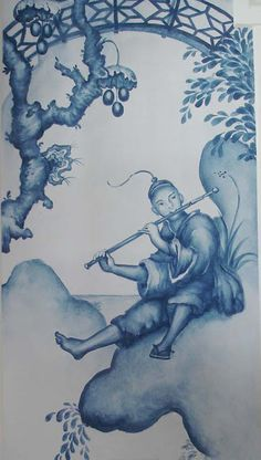 The Pink Pagoda: Blue and White Monday - Beautiful Chinoiserie Mural