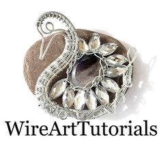 TUTORIAL Swan Pendant, wire weaving,wrapping DIY ,Wire wrapped weaved copper jewelry guide,lesson,Animal pendant,wrap,weave,PDF book pattern