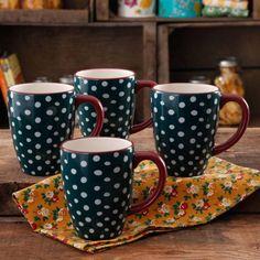 The Pioneer Woman Retro Dots 26-Ounce Jumbo Latte Mug Set, 4-Pack