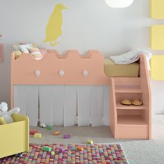 "The Castello Children's Bed, available from Go Modern, is perfect for a modern day princess saga. With stairs instead of a ladder, the lofted bed has a ""secret"" play space underneath that makes hiding from evil witches and big, bad wolves easy."