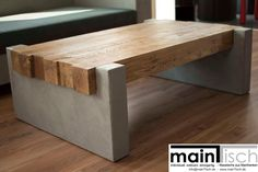 Betontisch, Beton, Tisch, Betoncouchtisch, MainTisch Wohnzimmertisch aus rustikalen Eichebalken mit Wangen aus Beton.