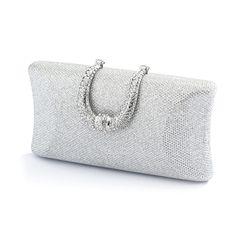 Glamorous Silver Glitter Weave Satin Wedding Minaudiere Clutch Purse - Affordable Elegance Bridal -