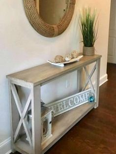 36 Nice Entryway Console Table Design And Decor Ideas - As you are probably aware, when it comes to decorating sometimes the smallest touch can make the biggest impression. For example, the entryway in a ho. Farmhouse Furniture, Rustic Furniture, Diy Furniture, Farmhouse Decor, Farmhouse Sofa Table, Antique Furniture, Modern Furniture, Furniture Layout, Coaster Furniture