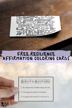 Are you interested in being an inspirational teacher who helps your students develop their resilience and strong mental health? These coloring affirmation cards not only offer a mindfulness opportunity to color in and reflect on the affirmation, but they also have a key step that helps the brain find evidence to back up the affirmation statement making it more likely to be believed and thus actually work towards changing the attitude! You can get these 5 cards for free right now #resilience Teaching Character, Character Education, Character Development, Personal Development, Help Teaching, Teaching Resources, Mindfulness Colouring, Quote Coloring Pages, Responsive Classroom